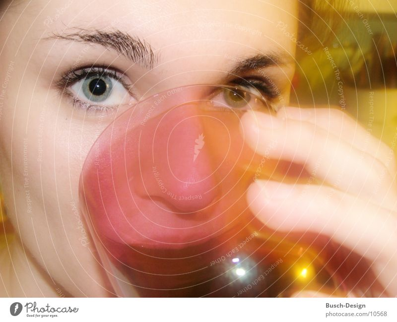 Woman Face Eyes Feminine Glass Drinking Pupil Looking