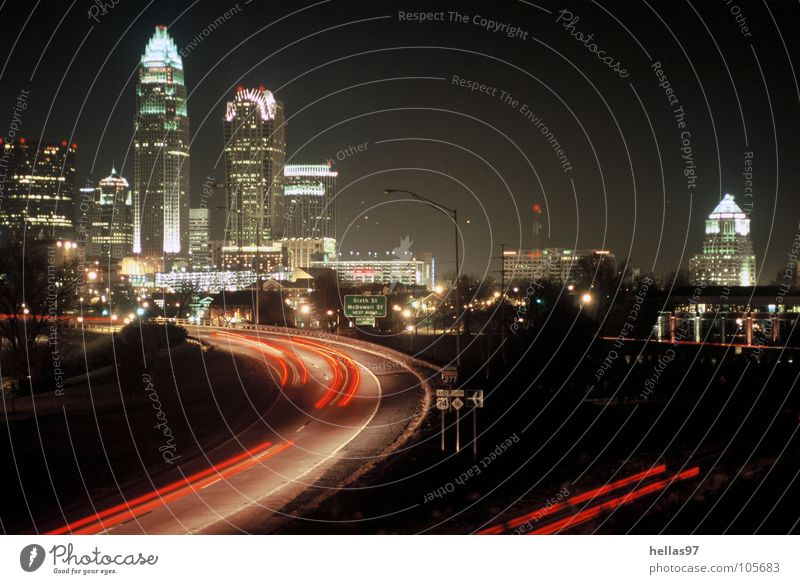 Charlotte, N. C. North Carolina Downtown Night High-rise Mecklenburg County bank of america interstate Highway