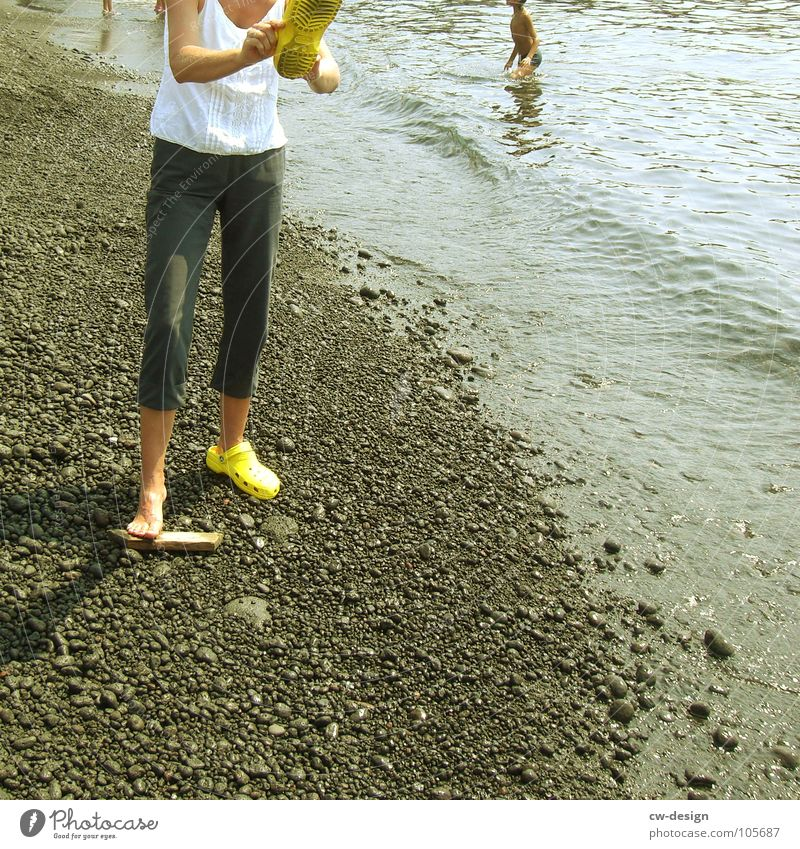 Human being Woman Sky Man Water Summer Beach Black Yellow Far-off places Feminine Coast Sand Horizon Air Masculine