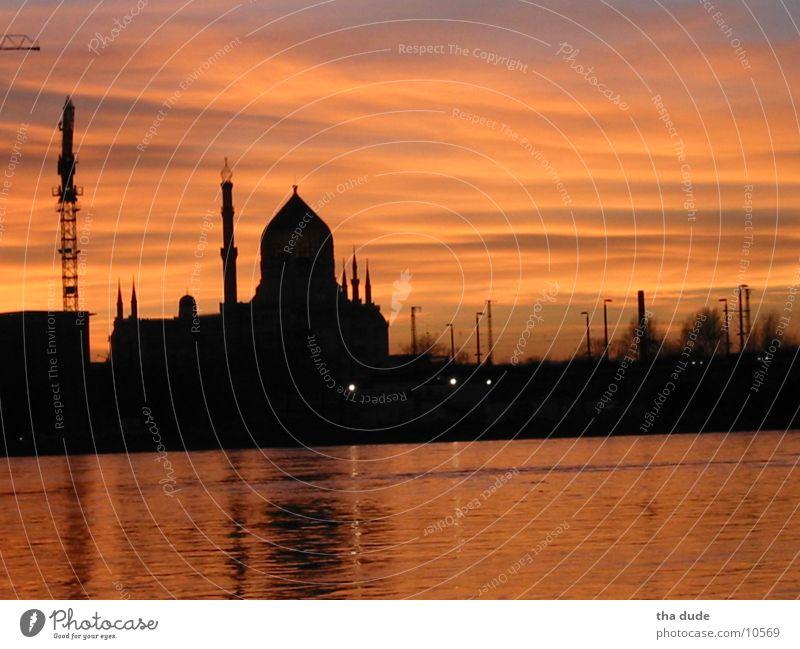 tobacco mosque Dresden Sunset Yenidze Architecture Elbe