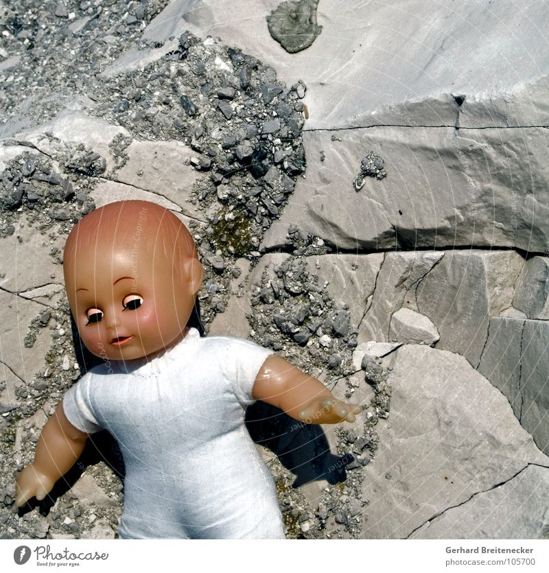 Loneliness Playing Gray Stone Sadness Infancy Rock Grief Plastic Trash Toys China Statue Doll Distress Poison