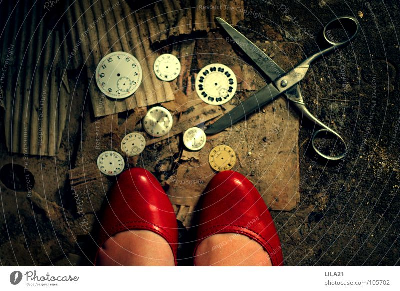 How time flies Footwear Red High heels Time Digits and numbers Clock Woman Cut Derelict Broken Old Scissors Clock hand Cardboard Floor covering Lady Feet