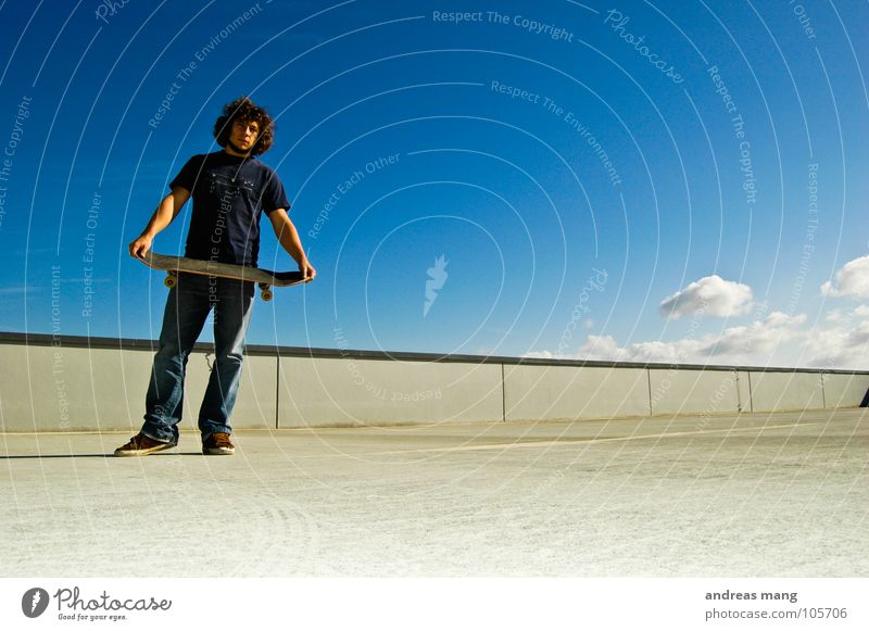 Ready? Man Stand Looking Skateboarding Sky Clouds Wall (barrier) Concrete Calm Cool (slang) Human being Blue Wait Loneliness Young man 18 - 30 years Forward