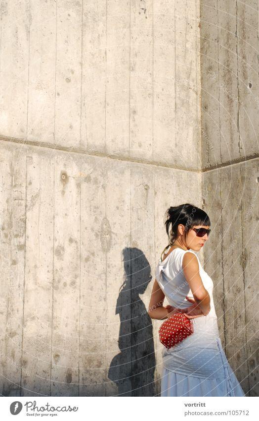 Woman White Red Feminine Style Fashion Art Concrete Posture Dress Model Switzerland Sunglasses Bag Designer Arts and crafts