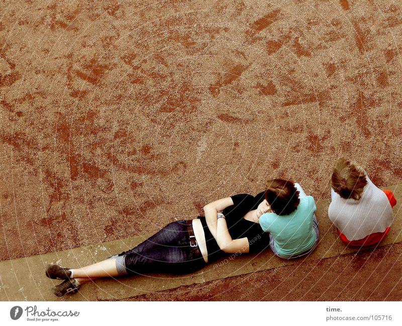Woman Blue Garden Park Adults Art Arm Lie Broken Break Bench Culture Tracks Footprint Sweater Completed