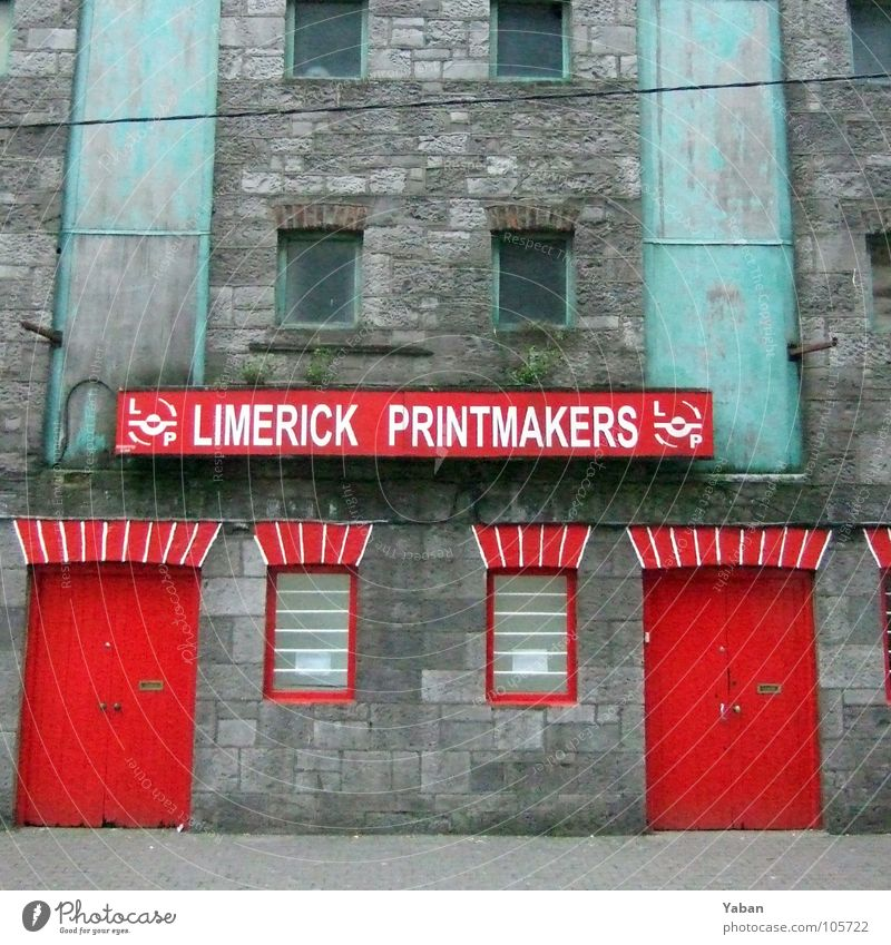 I see a red door ... Limerick Red Workshop Factory Industry Signs and labeling Services Ireland red windows