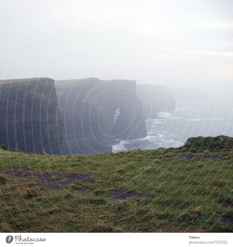 Cliffs of Moher Atlantic Ocean Fog Waves White crest Panorama (View) Beach Coast Might Ireland West Coast cliffs Green Island Wind