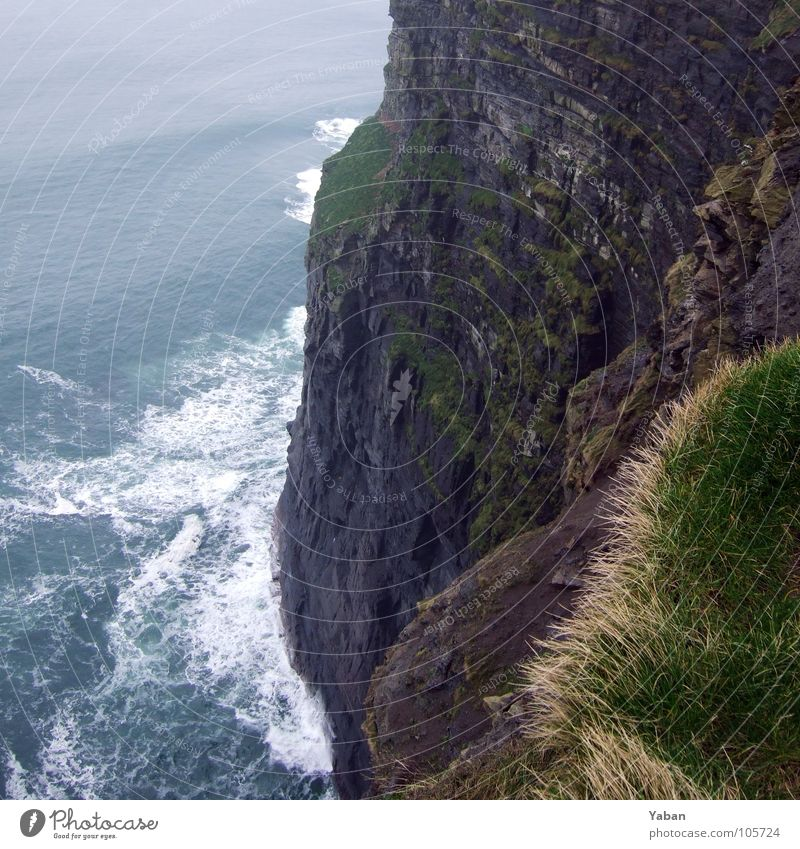 marginal Atlantic Ocean Cliff Fog Waves White crest Edge Beach Coast Dangerous Panorama (View) Ireland West Coast cliffs Moher Green Island Wind The abyss