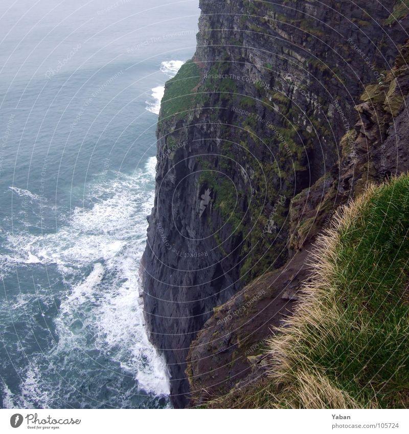 Ocean Beach Coast Waves Wind Fog Dangerous Edge Cliff White crest Ireland Atlantic Ocean West Coast