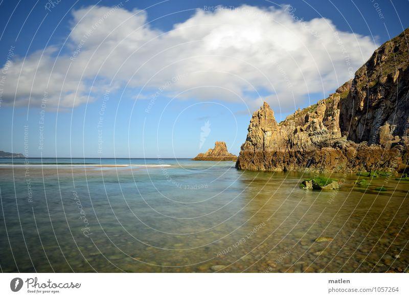 my desktop background Nature Landscape Water Sky Clouds Horizon Sunlight Summer Climate Weather Beautiful weather Rock Coast Beach Reef Ocean Blue Brown Yellow