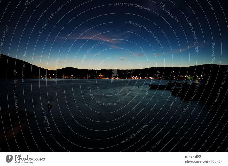 Vinisce 1 Ocean Croatia Black Night Vacation & Travel Watercraft House (Residential Structure) Village Reflection Dark Hill Blue Bay Light Mountain Sky Shadow