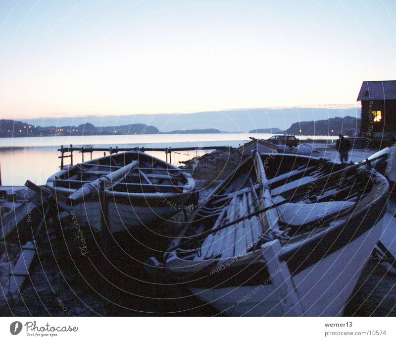 sweden - boats in winter Watercraft Rowboat Winter mood Ocean Footbridge Moody Calm Bohuslän Europe Snow Sweden Evening Hunnebo beach West Coast
