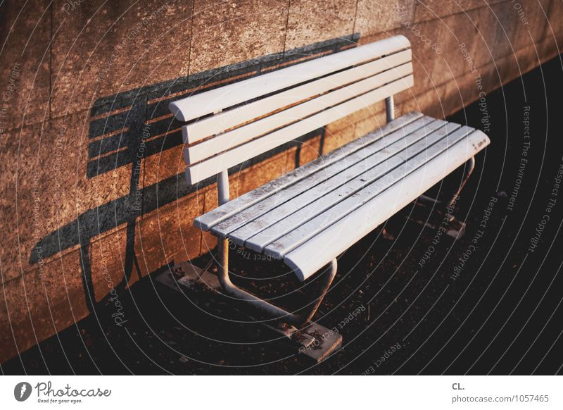 long bench Places Wall (barrier) Wall (building) Lanes & trails Bench Sit Wait Dirty White Calm Break Colour photo Exterior shot Deserted Day Light Shadow