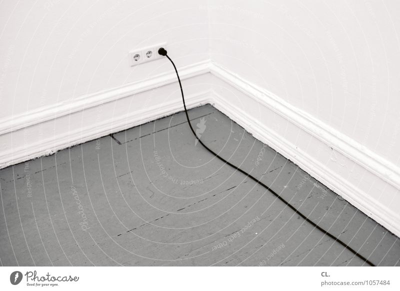 Long line Living or residing Flat (apartment) Room Cable Socket Connector Wall (barrier) Wall (building) Wooden floor Gray White Energy Colour photo