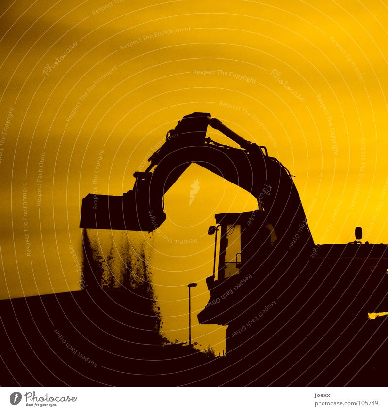 dig pits Pile up Dig Excavator Heavy plant operator Construction site Hill Earth Closing time Back-light Yellow Grass Digging equipment Aircraft carrier Lantern