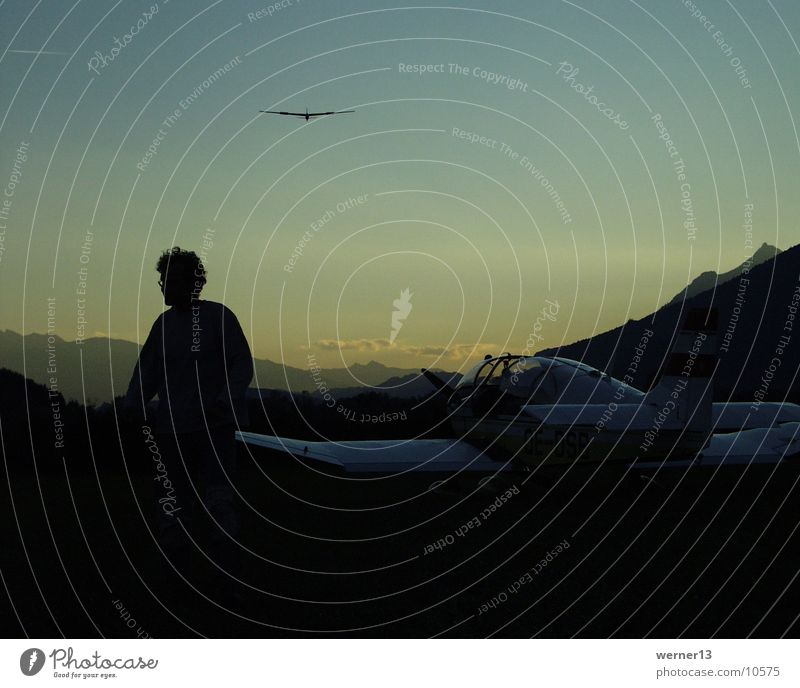 plane evening mood Gliding Mount Grimming Dusk Sunset Sports Flying Ennstal Aigen silouette Airplane landing