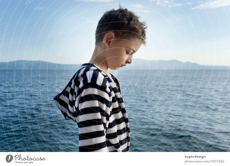 The young man and the sea Swimming & Bathing Vacation & Travel Summer Ocean Think Sadness Cry Maritime Wet Emotions Concern Grief Homesickness Exhaustion