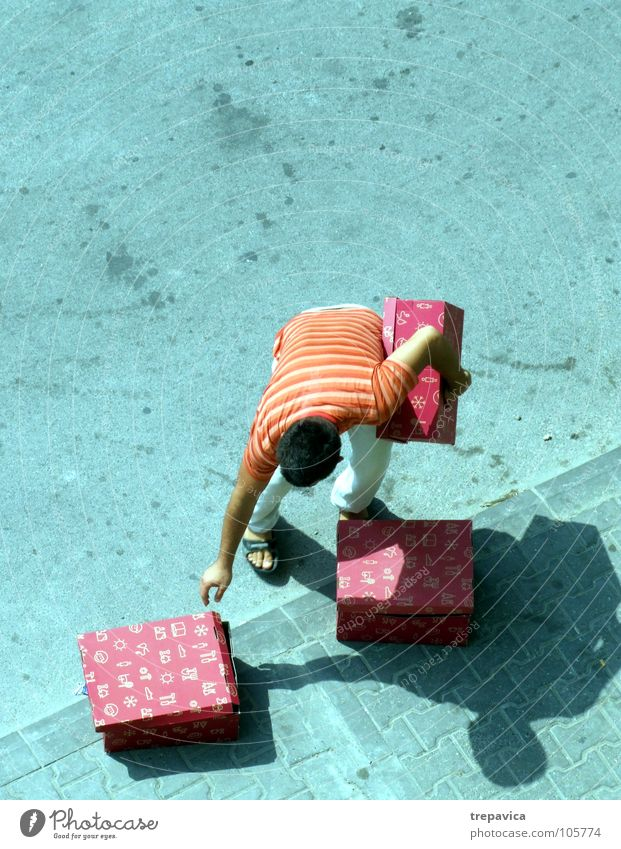 Man Red Street Gray Shopping Concrete 3 Gift Multiple Row Loudspeaker Many Crate Carrying Goods Heavy