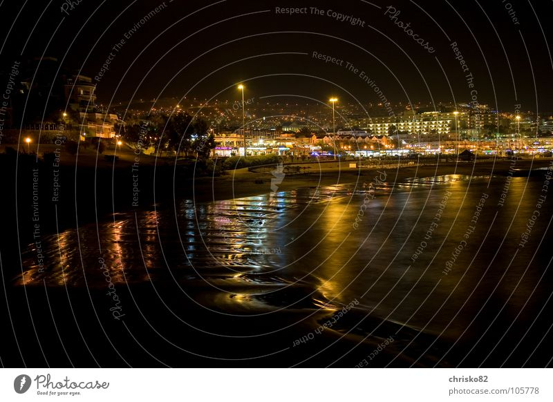 Vacation & Travel Ocean Summer Beach Colour Coast Waves Island Spain Promenade South Atlantic Ocean Night shot Canaries Tenerife City light