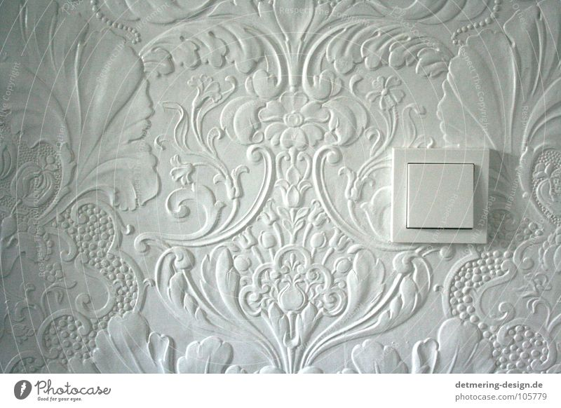 Wedding of E2 and Lincrusta* Wallpaper White Playing 1900 Light switch Sharp-edged Flower Floral wallpaper Electricity Socket Switch Petit bourgeois Cold Gray
