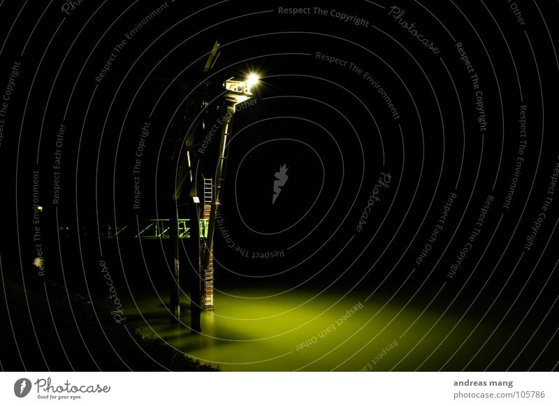 A long way up Dark Light Night Industrial Photography Steel construction Lamp Green Calm Flow Platform Industry Floodlight Lighting Water River Ladder Climbing