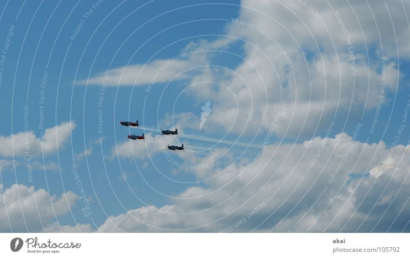 Sky Blue Joy Clouds Airplane Action Aviation Wing Concentrate Event Smoke World War Sporting event Soldier Sound Jubilee