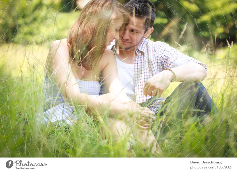 Human being Woman Nature Youth (Young adults) Man Summer Young woman Young man 18 - 30 years Adults Emotions Meadow Love Feminine Spring Happy