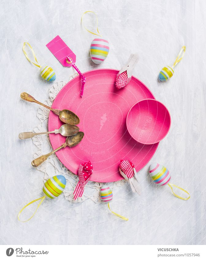 Pink plate with Easter eggs, spoon and decoration Nutrition Buffet Brunch Crockery Plate Spoon Style Design Leisure and hobbies Living or residing