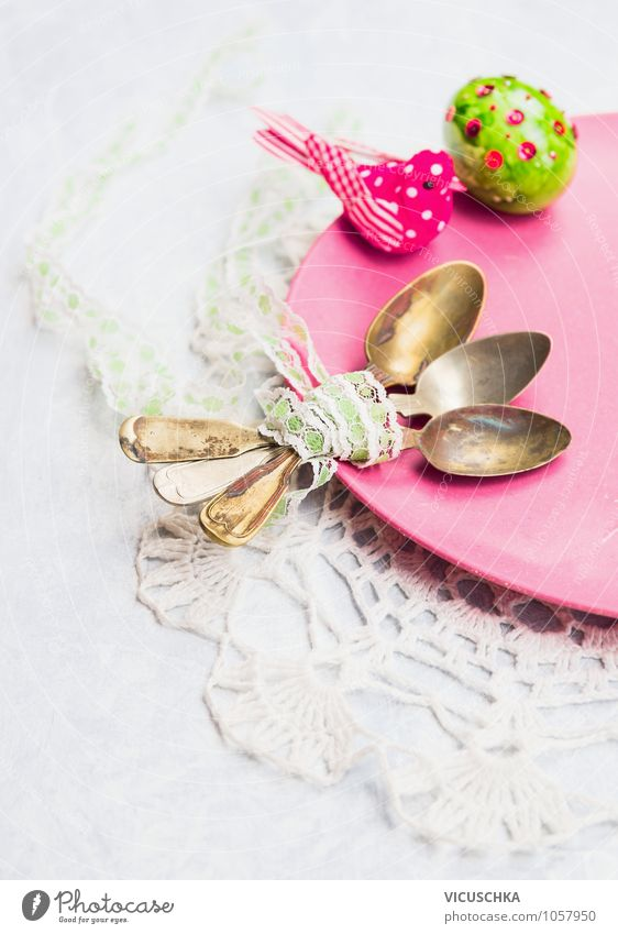 Old spoons on the plate with Easter egg Banquet Plate Spoon Style Design Kitchen Restaurant Feasts & Celebrations Plant Retro Yellow Pink Tradition Vintage