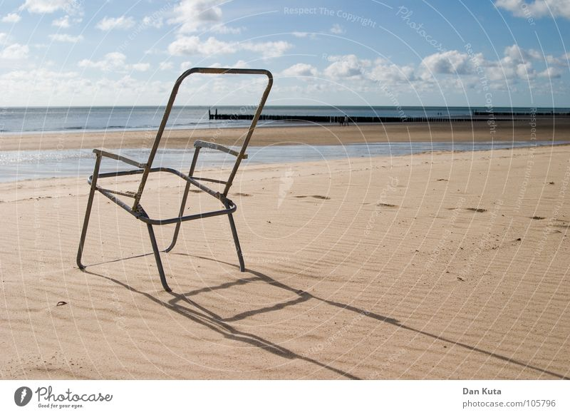 Water Sky Beach Clouds Far-off places Freedom Wood Sand Metal Waves Empty Chair Thin Transience Long Exceptional