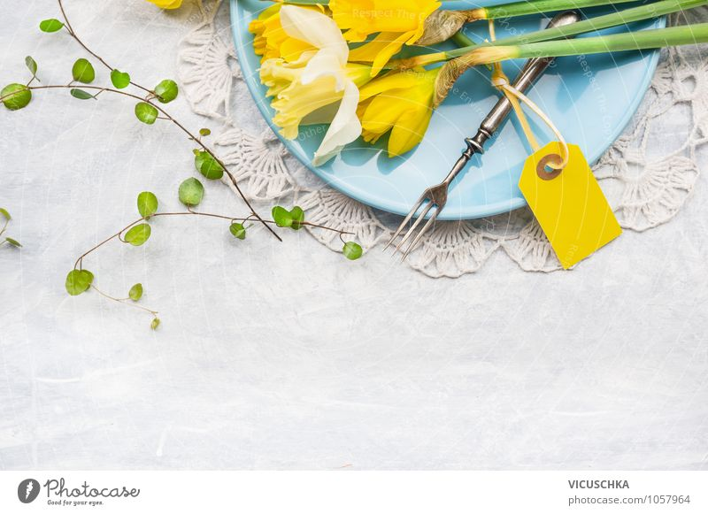 Blue Summer Flower Yellow Spring Style Feasts & Celebrations Background picture Design Decoration Birthday Nutrition Table Easter Kitchen Card