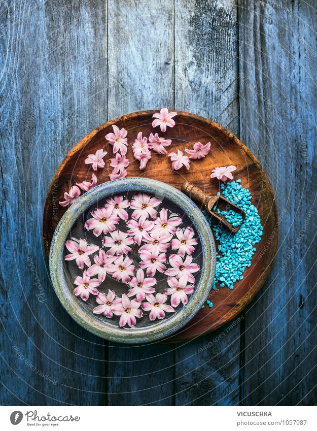 Bowl with flowers in water and shovel with bath salt Style Design Beautiful Personal hygiene Healthy Medical treatment Alternative medicine Wellness Well-being