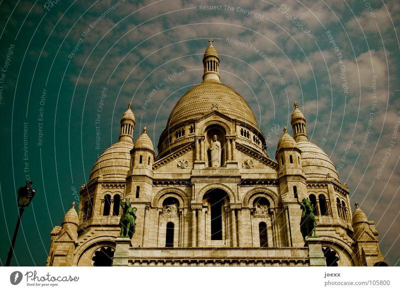 Not without a lantern Sacré-Coeur Roof France Hill Jeanne d'Arc's Statue Domed roof Montmartre Paris Catholicism Round Tourism Pilgrimage church Clouds Historic