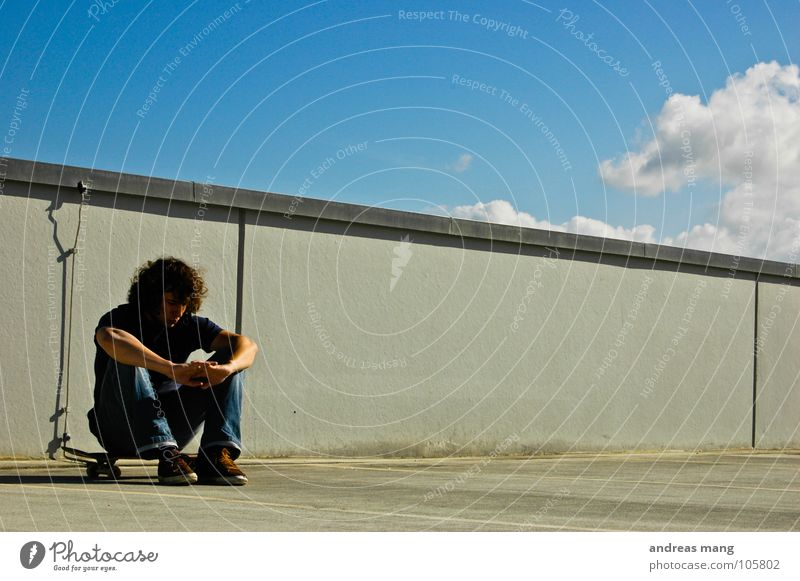 Sky Man Blue Clouds Relaxation Wall (barrier) Wait Sit Skateboarding Completed