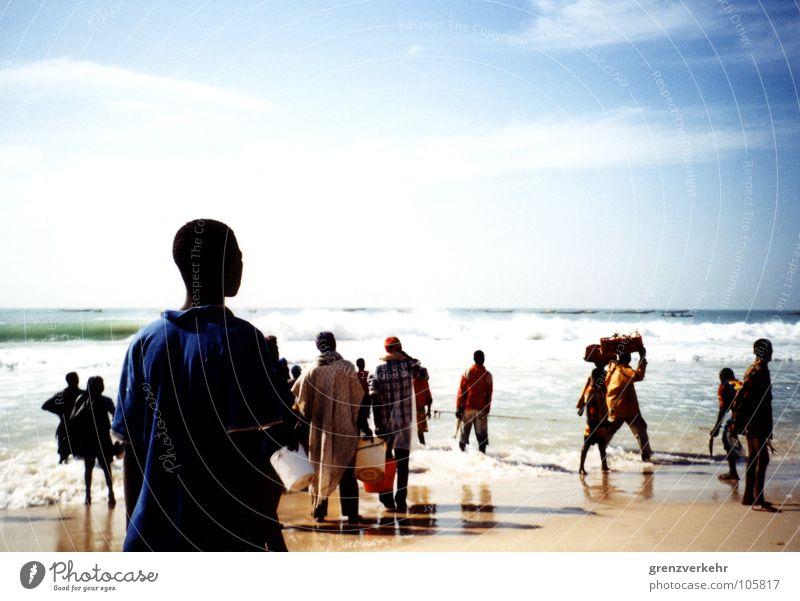Atlantic Kingfisher Shadow Silhouette Beach Ocean Work and employment Coast Carrying Fisherman Atlantic Ocean Africa West Africa Mauretania Nouakchott Fishery