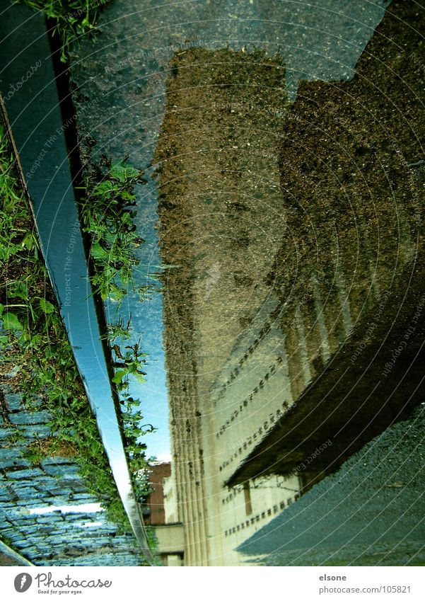 Water House (Residential Structure) Street Lanes & trails Building Rain Wet Railroad Industry Factory Image Mirror Railroad tracks Train station Surrealism