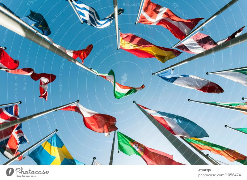 Business Perspective Tall Europe Sign Might Many Education Attachment Flag Cloudless sky Pride Politics and state Flagpole Elections International