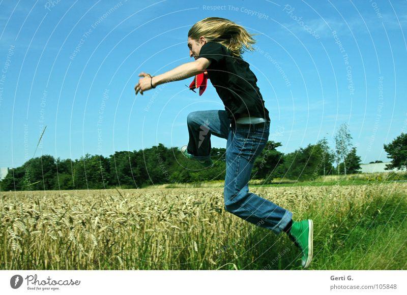 springtime Man Long-haired Blonde Denim blue Chucks Green T-shirt Black Field Wheat Wheatfield Jump Cornfield Edge Grass Blade of grass Ear of corn Mature