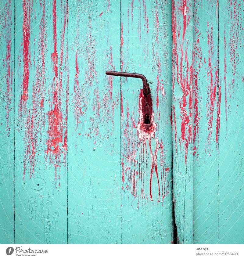entrance Door Door handle Door lock Dye Varnish Old Red Turquoise Colour Decline Front door Colour photo Exterior shot Close-up Structures and shapes Deserted