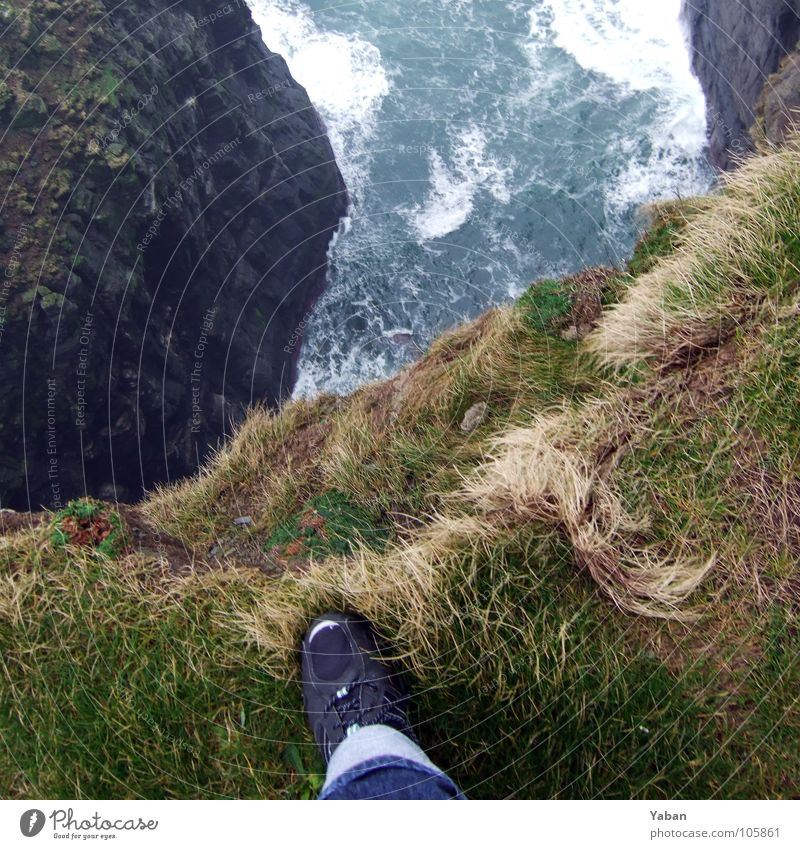 The scary place Atlantic Ocean Cliff Fog Waves White crest Edge Test of courage Suicide Beach Coast Fear Panic Transience Ireland West Coast cliffs Moher