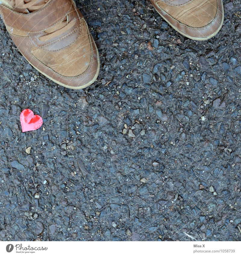 Human being Street Emotions Love Lanes & trails Legs Moody Feet Footwear Heart Romance Kitsch Infatuation Valentine's Day Pedestrian Flirt