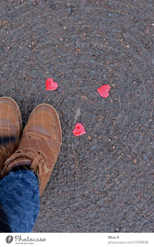 at one's feet Flirt Valentine's Day Human being Legs Feet 1 Jeans Footwear Kitsch Odds and ends Heart Emotions Moody Love Infatuation Romance