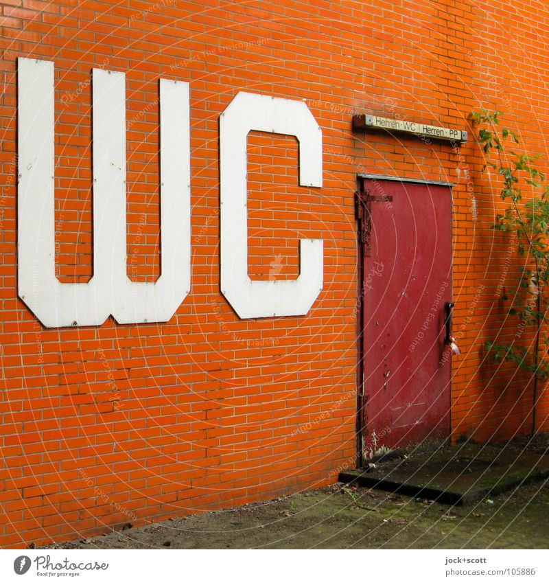 WC CLOSE Charlottenburg Building door Signs and labeling Dirty Sharp-edged Retro Orange Services Closed Wall cladding Public Shabby Typography