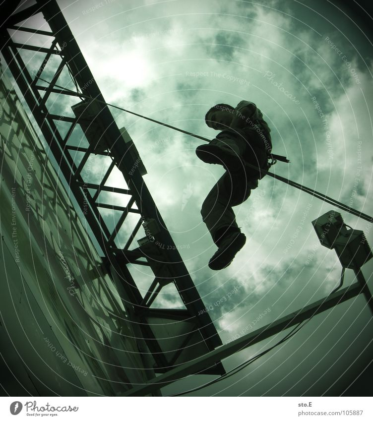 Human being Sky Clouds Playing Feasts & Celebrations Signs and labeling Rope Action Tower Climbing Protection Handrail Advertising Athletic Guy Freak