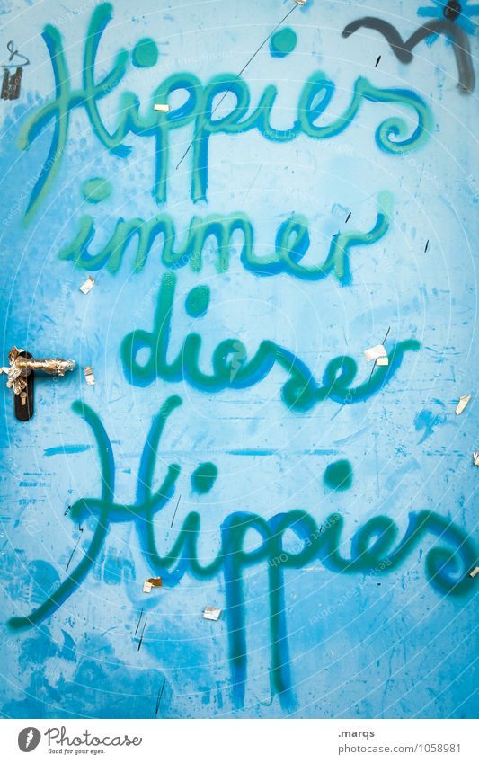 Old Blue Graffiti Lifestyle Dirty Door Characters Communicate Door handle Cliche Hippie