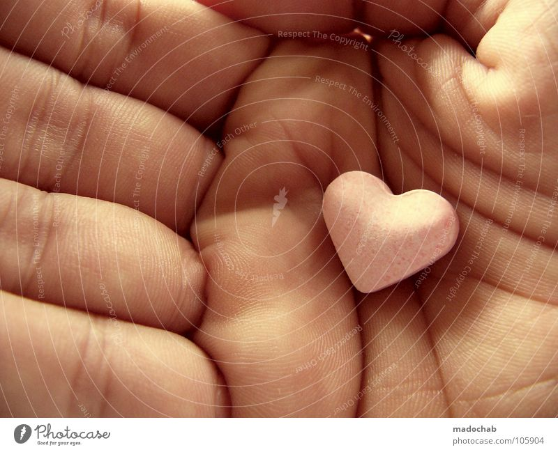 Love greetings: Heart in hand as a declaration of love and a sign of love or gift for Valentine's Day Candy Heart-shaped Close-up Hand Central perspective Sweet