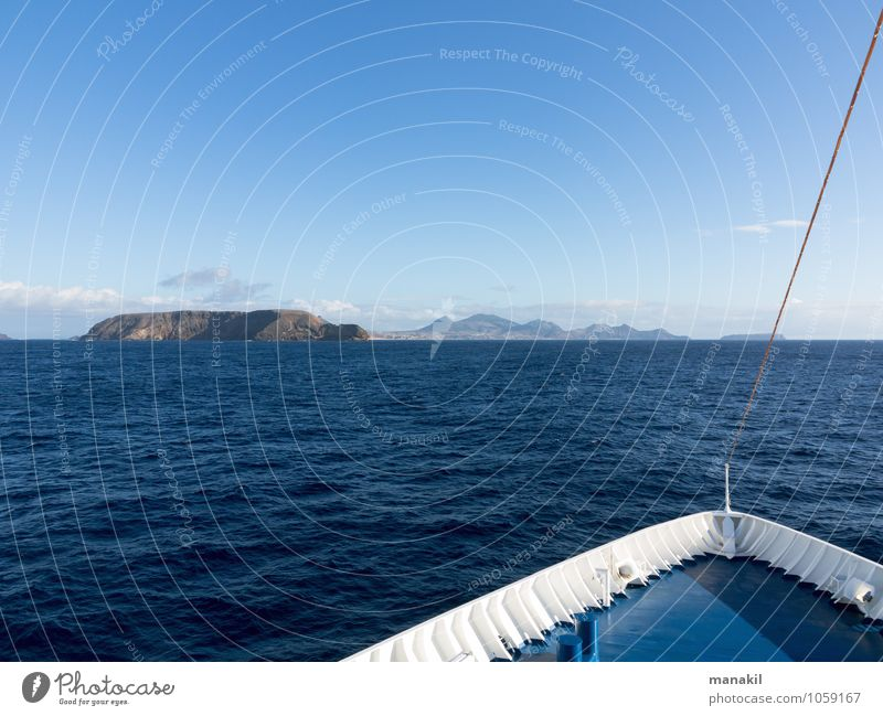 Island in sight Ocean Portugal Europe Deserted Navigation Passenger ship Ferry Relaxation Vacation & Travel Maritime Blue Tourism Madeira Porto Santo Bow