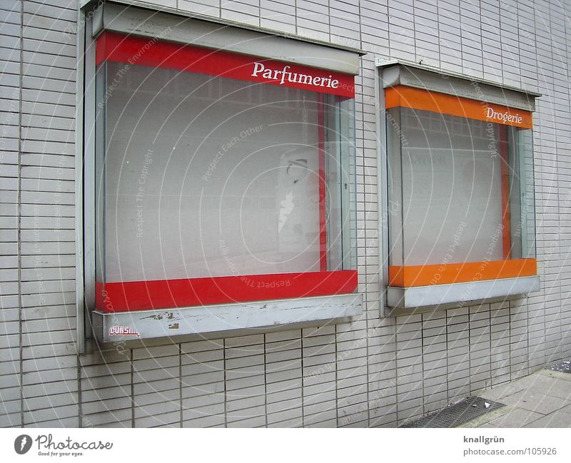 Without make-up Drugstore Transience Red White Brick Empty Derelict perfumery Beautiful Orange display Shop window facade