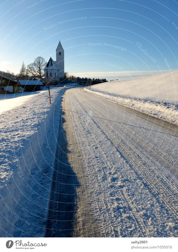 White Loneliness Winter Cold Street Snow Lanes & trails Religion and faith Ice Church Frost Alps Village Traffic infrastructure Smoothness Home country