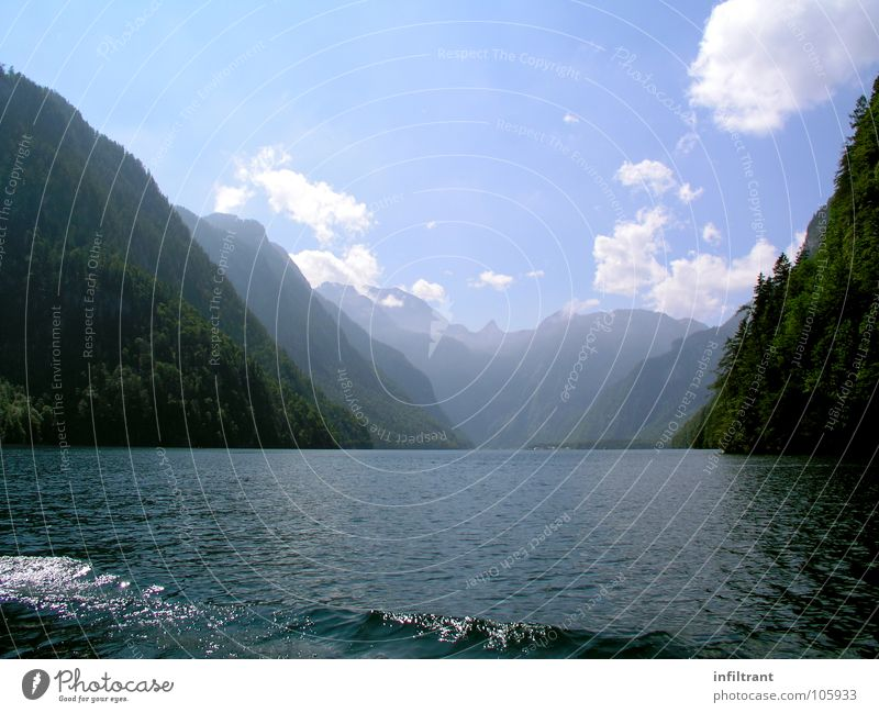 Nature Water Sky Summer Calm Clouds Loneliness Mountain Lake Landscape Romance Alps Bavaria Lake Königssee